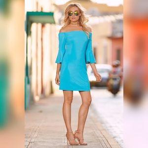 NWT Boston Proper Bright Blue Off Shoulder Dress S